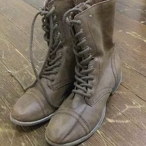 Brown combat boots size 8